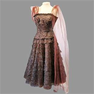Vtg 1950's Brown lace Debutante Gown layered strapless