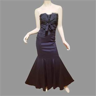 Vtg Cache Mermaid Ruched strapless Formal Gown with