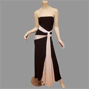Vtg Strapless mermaid Trumpet Maxi dress black/white