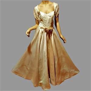 Vtg French Peau de Soie 1950's Wedding gown pearl