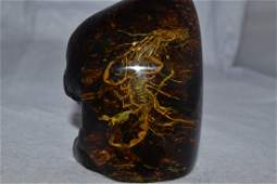 "3 1/2"" Excellent Reproduction Resin/Amber with Scorpion"