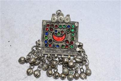 "2 3/4"" Embellished Pendant with Bells, Afghanistan"