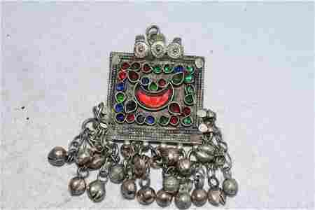 "2 3/4"" Embellished Pendant with Bells, Afghanistan"