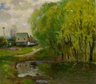 Oil painting Road to the village Mynka Alexander