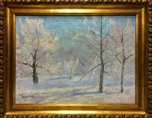 Oil painting Winter landscape Kogan-Shats Matvey