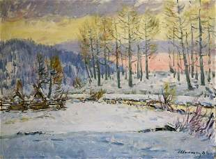 Oil painting Winter landscape Sokolova Zinaida Ivanovna