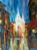 Abstract oil painting Night city Anatoly Borisovich