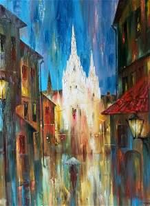 Abstract oil painting Night city Anatoly Borisovich