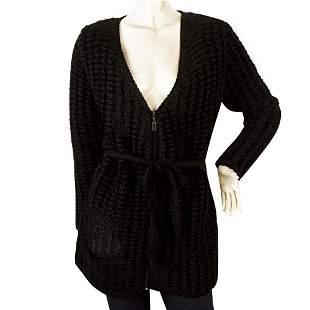 Saint Laurent Rive Gauche Black Chenille Knit Zipper