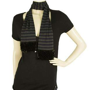 Sonia by Sonia Rykiel Gray Blue Striped 100% wool Scarf
