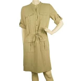 Michael Kors Beige Casual Safari Look Knee Length Shirt