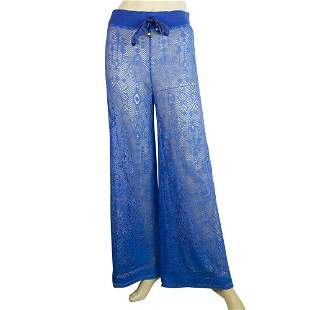 Roberto Cavalli Beachwear Blue Perforated Flare Wide