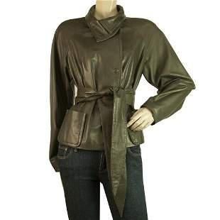 Jo Peters Olive Green Lambskin Leather Raglan Sleeves