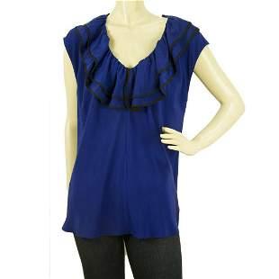 Derek Lam 100% Silk Blue Cup Sleeve Top Ruffled