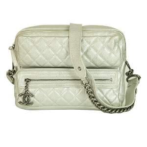 Chanel Silver Leather Large Camera Shoulder Bag