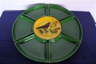 Extra Large Midcentury Hand Painted Lazy Susan