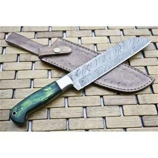 Kitchen chife damascus steel knife sharp hard wood