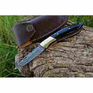 Hunting folding damascus steel knife pocket horn brass