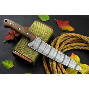 Handmade work chef kitchen damascus steel knife walnut