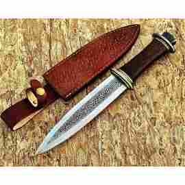 Handmade steel work knife camping hiking walnut wood