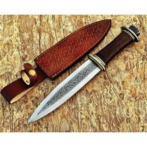 Handmade steel work knife camping hiking walnut wood