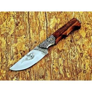 Handmade camping work steel knife hunting walnut wood