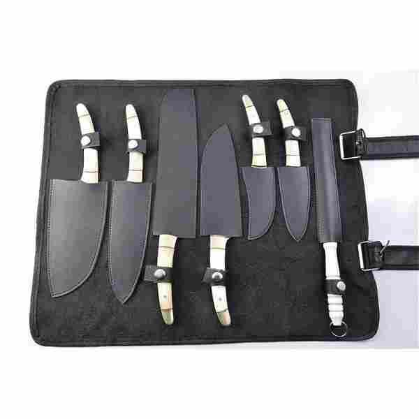 Set of 6 kitchen skinner full tang damascus steel knife