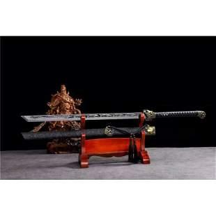 Steel sword handmade survival wood leather hunting
