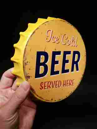 """Ice Cold Beer Served Here"" Bottle Cap Shape Sign"