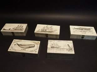 5 Folk Art Scrimshaw Etched Bone & Wood Trinket Box set
