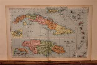1892 Map of Cuba and Jamaica