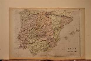 1882 Map of Spain and Portugal