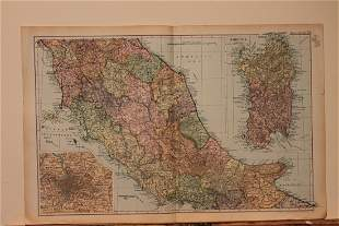 1892 Map of Rome and Naples