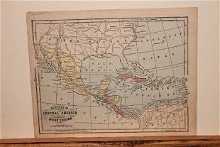 1871 Map of Mexico, Central America and West Indies