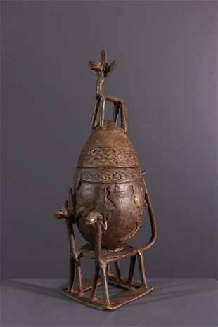 Dogon ointment bronze pot - Mali - African Art Tribal