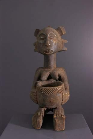 Luba cup carrier wood figure - DRC Congo - African Art