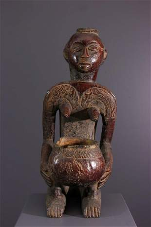Luba Shankadi wood cup holder statue - Nigeria -
