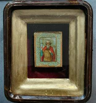 ANTIQUE 19c HAND PAINTED RUSSIAN ICON OF ST.ANDREY ON