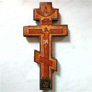 ANTIQUE 19c RUSSIAN ORTHODOX HAND PAINTED WOODEN CROSS