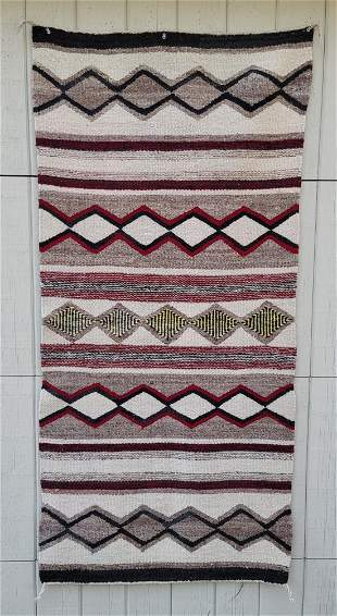 Navajo Woven Double Saddle Blanket Ca 1940s