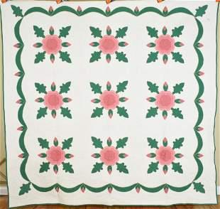30's Rose Applique Quilt, Amazing Quilting