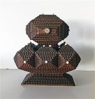 Multi-Tiered Tramp Art Pedestal Box