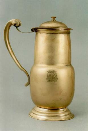 Good French silver form brass water jug with fine