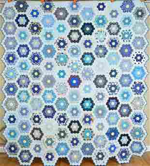40's Flower Garden Quilt, Nice Blues