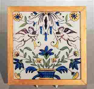 Framed Dutch Tile With Angels