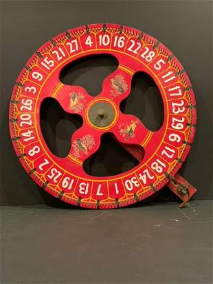 Bird motif Carnival Game Wheel, early 20th c