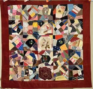 Crazy Quilt, American Flag d. 1890