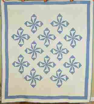 20's Blue & White Pinwheels Quilt