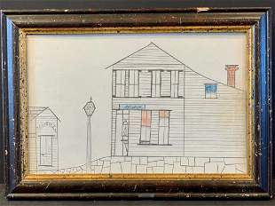 Dated 1885 naive New England Village Drawing in Pencil
