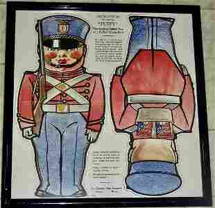 Framed Puffy Quaker Oats Doll Cut-out 1930